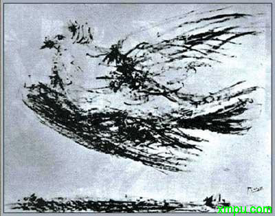 口衔橄榄枝,组合出一个女性头像的和平鸽,就出自毕加索之手,高清图片